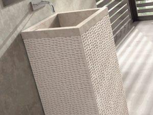Umywalka stojąca Bathco Borneo beige 45x45cm 00330/WL