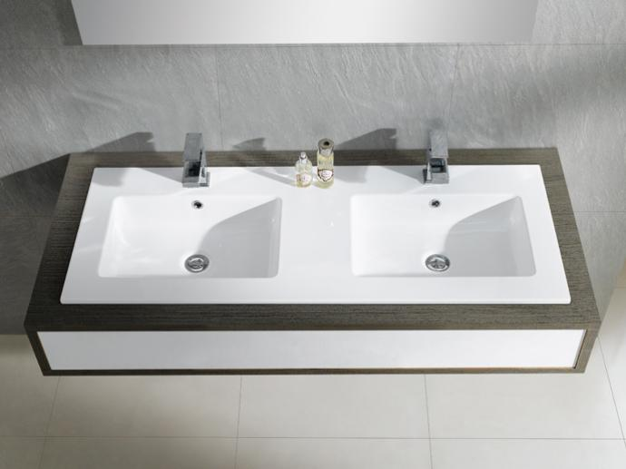 Umywalka podwójna blatowa Bathco Liebana 121x46cm 4068