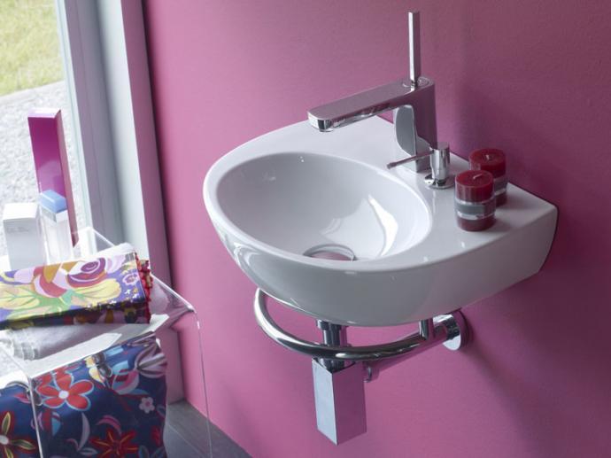 Umywalka podwieszana Bathco Alhambra/D z dozownikiem i relingiem 45x33cm 4910/D