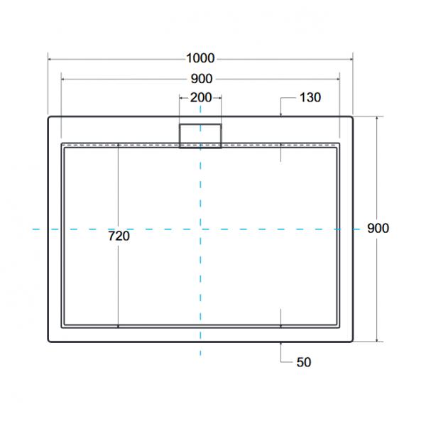 Zdjęcie Brodzik prostokątny Besco Axim 100 biały 100x90x4.5 BAX-109-P