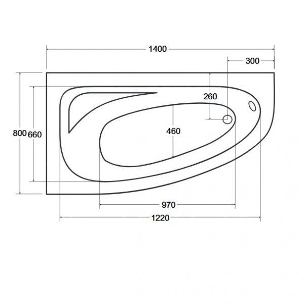 Zdjęcie Wanna narożna asymetryczna Besco Cornea 140 Lewa 140x80cm WAC-140-NL