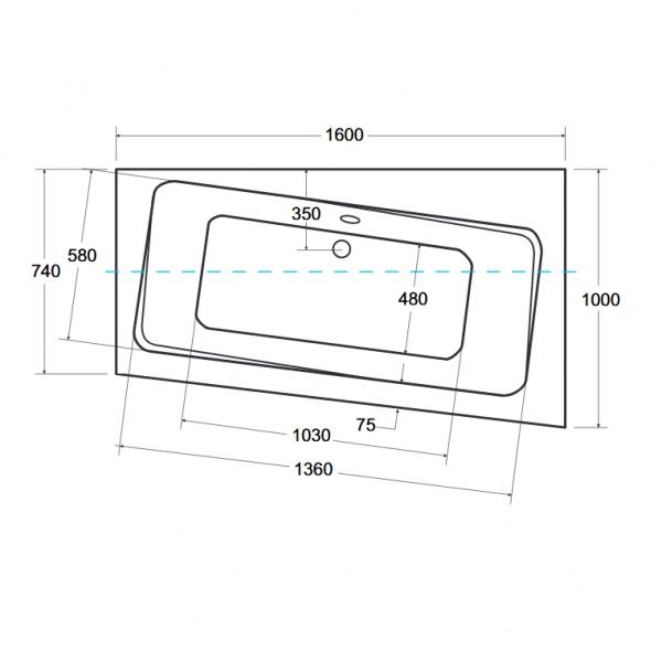 Zdjęcie Wanna narożna asymetryczna Besco Infinity 160 Prawa 160x100cm WAI-160-NP