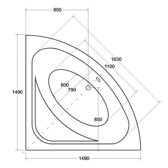 Zdjęcie Wanna narożna symetryczna Besco Luksja 148 148x148cm besLuksja148