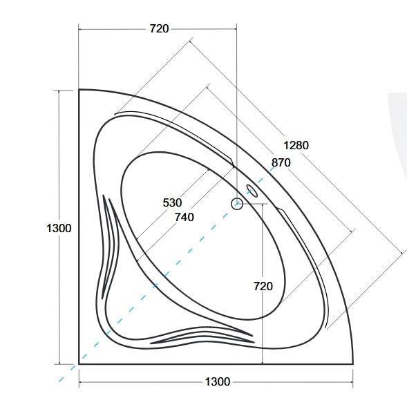 Zdjęcie Wanna narożna symetryczna Besco Mia 130 130x130cm besMia130