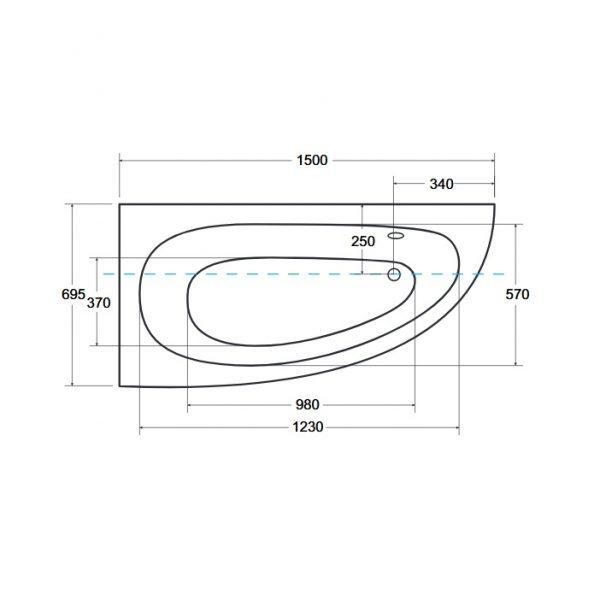 Zdjęcie Wanna narożna asymetryczna Besco Milena 150 Lewa 150x70cm WAM-150-NL