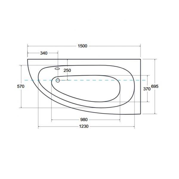 Zdjęcie Wanna narożna asymetryczna Besco Milena 150 Premium Prawa150x70cm WAM-150-NP$