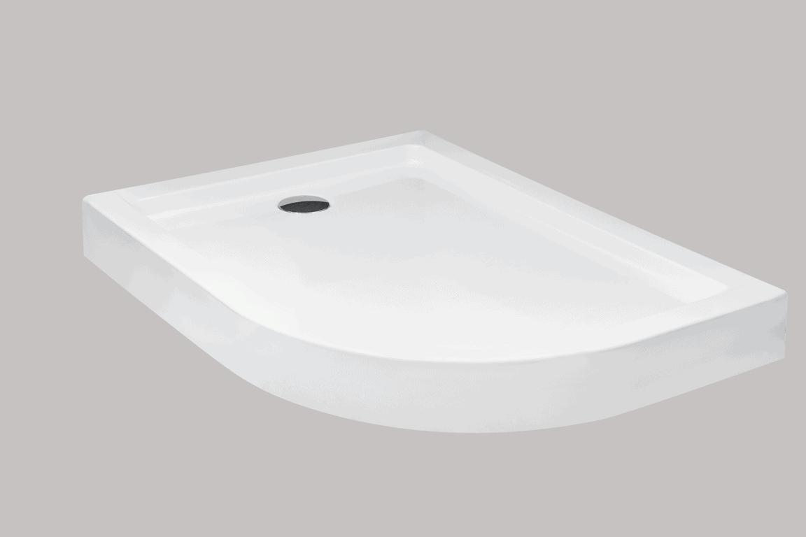 Brodzik asymetryczny Besco Saturn 100L biały 100x80x4 BAS-100-NL