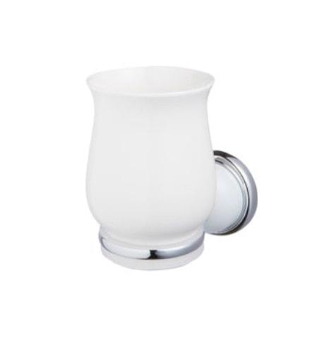 Szklanka z podstawką Grenada BF chrom/biały 06904