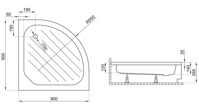 Zdjęcie Brodzik półokrągły Atrium Taro 90cm QG1-90