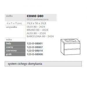 Zdjęcie Szafka pod umywalkę Defra Como 80cm grafit 123-D-08008