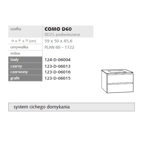 Zdjęcie Szafka podumywalkowa  Defra Como 59cm biała + Umywalka Plan 60 124-D-06004 + 1722