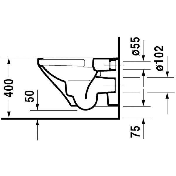Zdjęcie Miska WC wisząca bez rantu spłukującego + deska wolnoopadająca Duravit DuraStyle 455109.00.A1 (25510900A0+006379000)