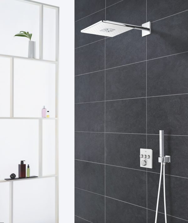Zdjęcie GROHE Rainshower 310 SmartActive Cube – deszczownica, 2 strumienie, z ramieniem prysznicowym 26479GN0