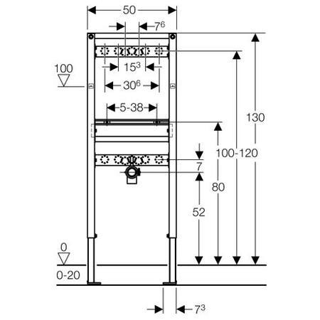 Zdjęcie Stelaż do umywalki Geberit Duofix dla baterii ściennej H130 111437001