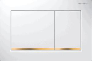 Przycisk spłukujący Geberit Omega30 biały/ złocony 115.080.KK.1