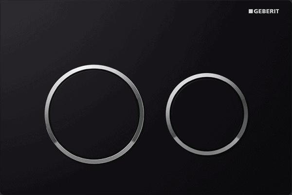 Zdjęcie Przycisk spłukujący Geberit Omega20 czarny/chrom błyszczący 115.085.KM.1
