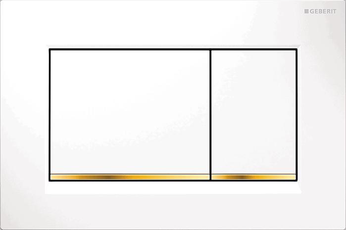 Przycisk spłukujący Geberit Sigma30 biały/złocony/biały 115.883.KK.1