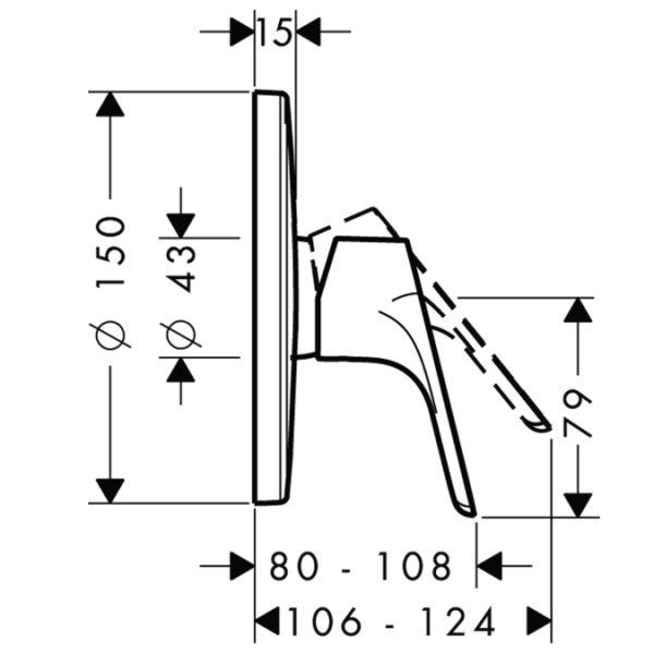 Zdjęcie Bateria prysznicowa podtynkowa jednouchwytowa Hansgrohe Focus E2 31965000