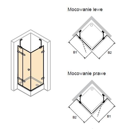Zdjęcie Drzwi skrzydłowe ze stałym segmentem i ścianką boczną Huppe Enjoy pure bezramowa na wymiar Prawe 4R0680.092.321