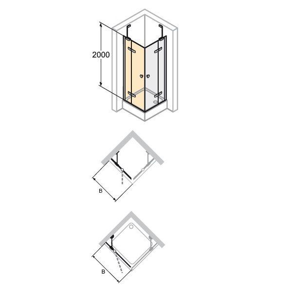 Zdjęcie Drzwi skrzydłowe ze stałym segmentem do ścianki bocznej / wejście narożnikowe Huppe Enjoy pure 75cm Lewe montaż na równi z posadzką 4T0106.087.321