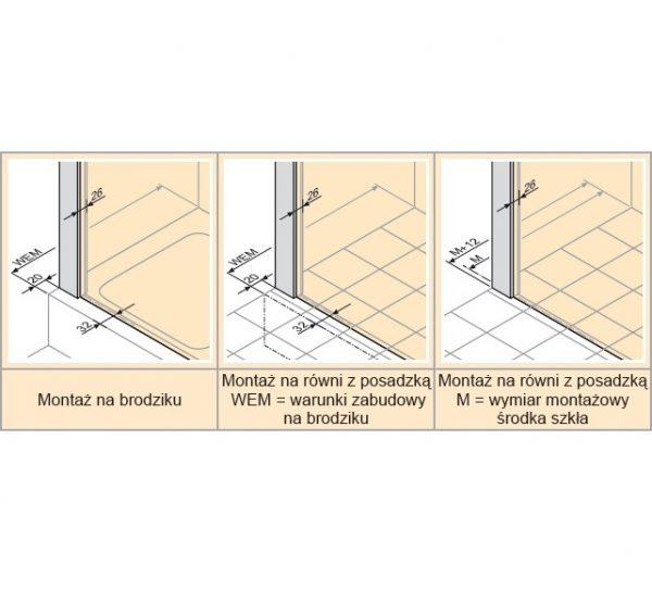 Zdjęcie Drzwi skrzydłowe ze stałym segmentem do ścianki bocznej / wejście narożnikowe Huppe Enjoy pure  120cm Prawe montaż na równi z posadzką 4T0210.087.322 Anti-plaque