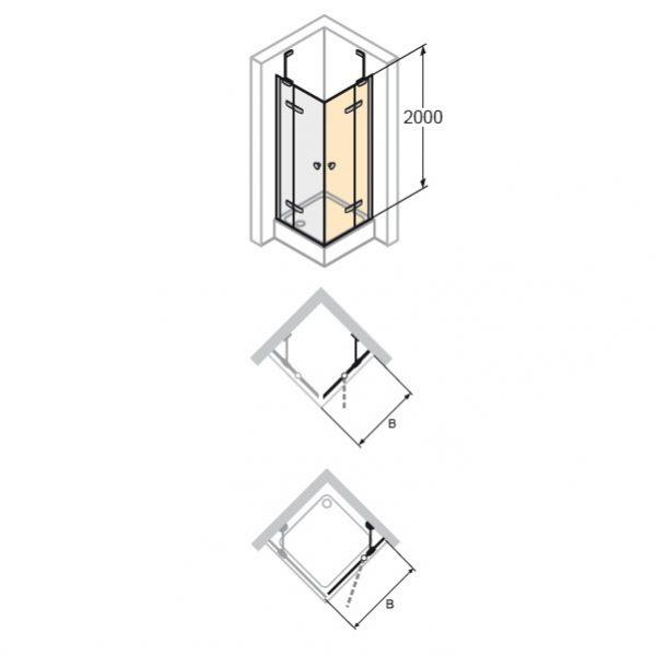 Zdjęcie Drzwi skrzydłowe ze stałym segmentem do ścianki bocznej / wejście narożnikowe Huppe Enjoy pure  80cm Prawe montaż na równi z posadzką 4T0207.087.321