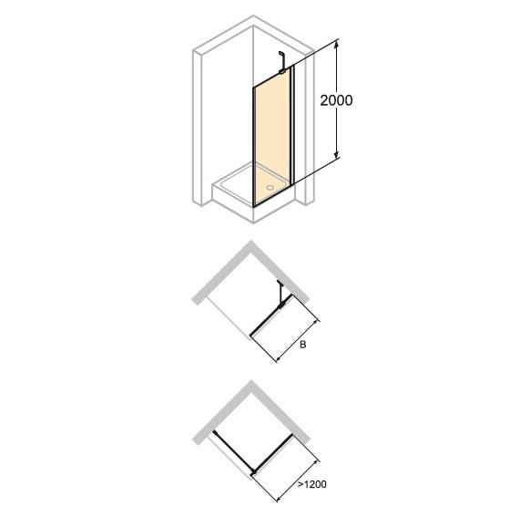 Zdjęcie Ścianka boczna do drzwi skrzydłowych ze stałym segmentem Huppe Enjoy pure 100x175cm montaż na brodziku 4T1611.087.322 Anti-plaque
