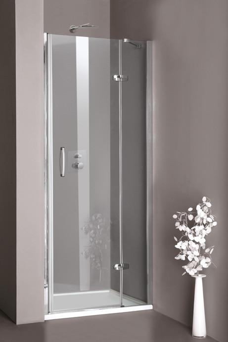 Drzwi skrzydłowe Huppe Aura elegance ze stałym segmentem do wnęki 80cm Prawe 400204.087.321