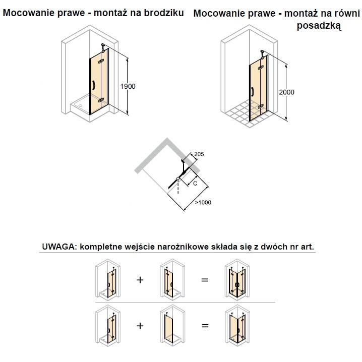 Zdjęcie Drzwi skrzydłowe Prawe Huppe Aura elegance ze stałym segmentem chrom eloxal 90cm 400408.092.322 Anti-plaque @