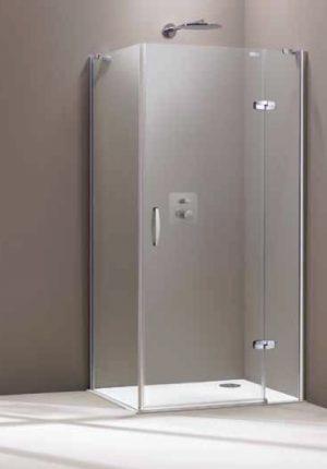 Drzwi skrzydłowe Prawe Huppe Aura elegance ze stałym segmentem chrom eloxal + ścianka boczna 90x90cm 400408.092.322+400609.092.322  Anti-plaque