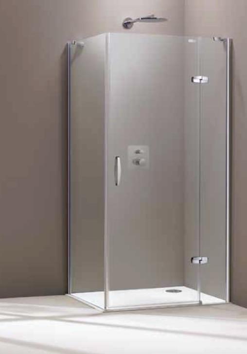 Drzwi skrzydłowe Prawe Huppe Aura elegance ze stałym segmentem chrom eloxal + ścianka boczna 90x90cm 400408.092.322+400609.092.322  Anti-plaque @