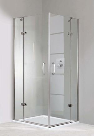 Kabina Huppe Aura elegance 4-kątna drzwi skrzydłowe ze stałymi segmentami 100x100cm 400514.087.322 Anti-plaque