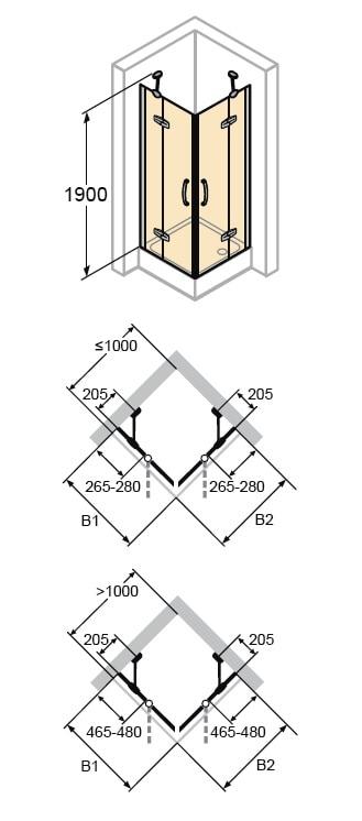 Zdjęcie Kabina Huppe Aura elegance 4-kątna drzwi skrzydłowe ze stałymi segmentami na wymiar 400580.087.322 Anti-plaque