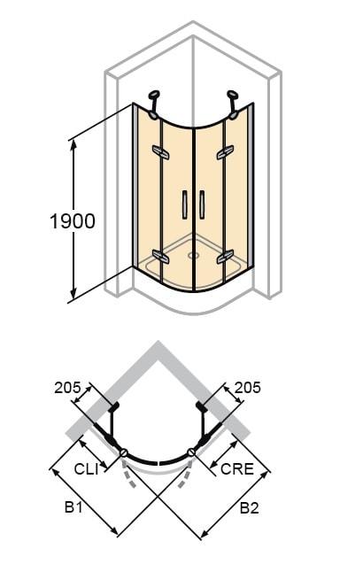 Zdjęcie Kabina skrzydłowa 5-kątna Huppe Aura elegance 1-częściowa ze stałymi segmentami 90x90cm na wymiar Lewe 400980.087.322 Anti-plaque
