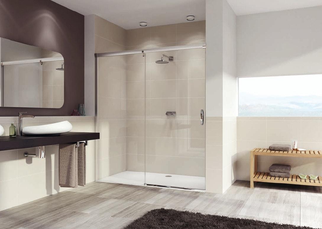 Drzwi suwane 1-częściowe ze stałym segmentem Huppe Aura elegance 170cm Lewe 401409.087.322 Anti-plaque @