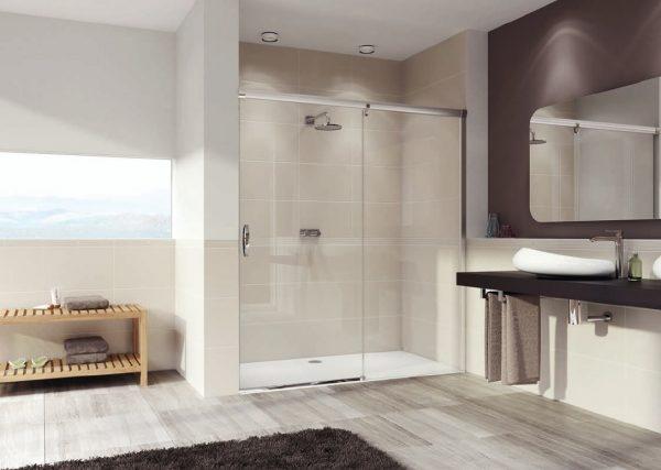 Zdjęcie Drzwi suwane 1-częściowe ze stałym segmentem Huppe Aura elegance 150cm Prawe 401507.087.322 Anti-plaque