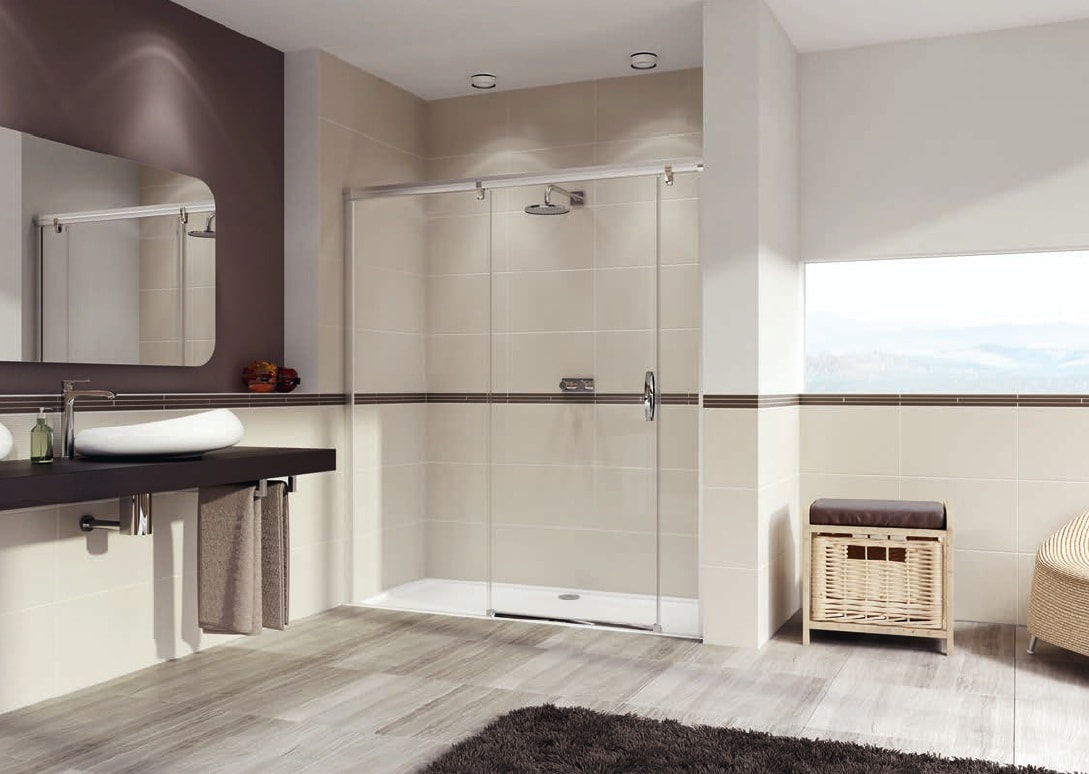 Drzwi suwane ze stałym segmentem i częścią boczną Huppe Aura elegance na wymiar Lewe 401881.087.322 Anti-plaque