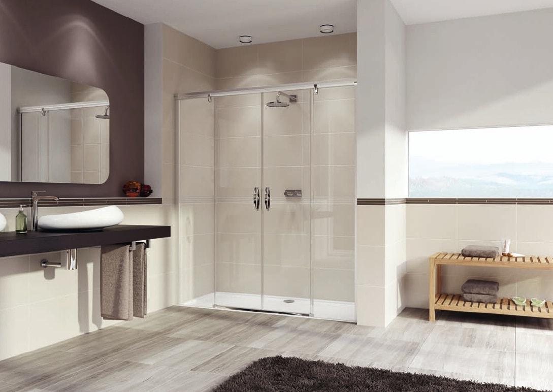 Drzwi suwane 2-częściowe ze stałymi segmentmami Huppe Aura elegance 180cm 402106.087.322 Anti-plaque