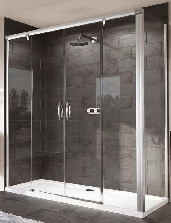 Ścianka boczna 4-kątna Huppe Aura elegance do drzwi suwanych 2-częściowych ze stałymi segmentami / stałym segmentem i częścią boczną 75cm 402205.087.321