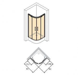 Zdjęcie Kabina suwana 1/4-koła Huppe Aura elegance 80x90cm 402427.087.321