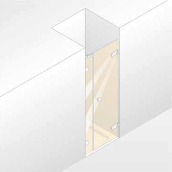 Drzwi skrzydłowe z częścią boczną do wnęki Huppe Enjoy pure bezramowa na wymiar Prawe 4R1781.092.321