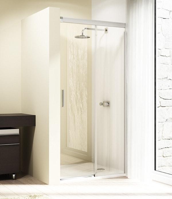 Drzwi suwane 4-kątne Huppe Design Elegance 1-częściowe ze stałym segmentem 110cm Prawe 8E0213.087.322 Anti-plaque