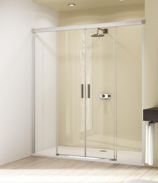 Drzwi suwane 4-kątne Huppe Design Elegance 2-częściowe ze stałymi segmentami 180cm 8E0503.087.322 Anti-plaque