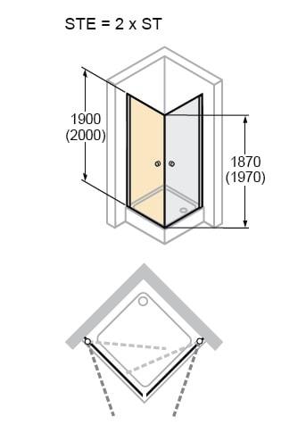Zdjęcie Kabina skrzydłowa 4-kątna (2xDrzwi) Huppe Design Elegance 98cm 2x8E0612.087.322 Anti-plaque