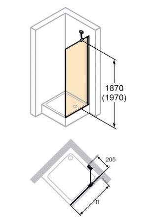 Zdjęcie Ścianka boczna krótka Huppe Design Elegance do drzwi skrzydłowych 70cm 8E1019.087.322 Anti-plaque