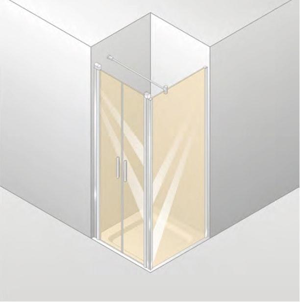 Drzwi skrzydłowe wahadłowe 4-kątne Huppe Design Elegance do ścianki bocznej 100cm 8E1403.087.321