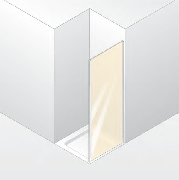 Ścianka boczna 4-kątna Huppe Design Elegance do drzwi wahadłowych 75cm 8E1511.087.322 Anti-plaque