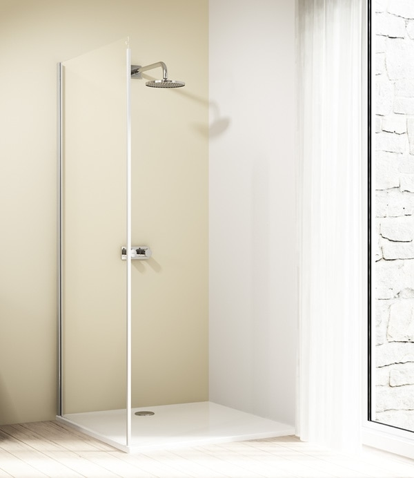 Ścianka boczna 4-kątna Huppe Design Elegance do drzwi suwanych 1-częściowych ze stałym segmentem 75cm Lewa 8E2705.087.321