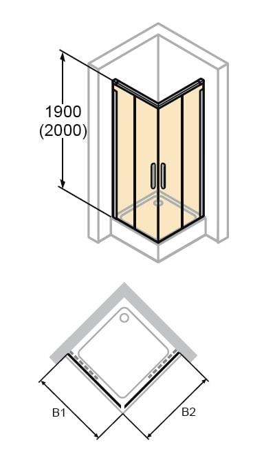 Zdjęcie Kabina Huppe Design Elegance 4-kątna drzwi suwane 2-częściowe na wymiar 8E2980.087.322 Anti-plaque