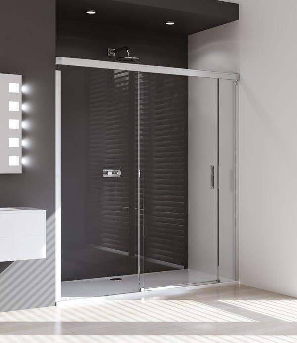 Drzwi suwane 4-kątne Huppe Design Pure ze stałym segmentem  i częścią boczną 180cm Lewe 8P0303.087.322 Anti-plaque